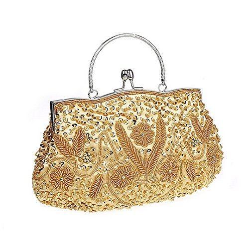 Sequin Purse Party Women Wedding Mily Satin Kissing Beaded Evening Gold Clutch Bag Bag Lock Prom Aqv5SqPw