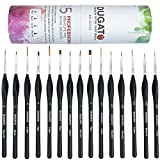 Detail Paint Brush Set By DUGATO – Minute Series XVI 15pc Miniature Paint Brush Set With Ergonomic Triangular Handles – Precision Paint Brush Set For Acrylic, Watercolor, Oil Art & Face- Nail Painting
