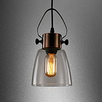 MSTAR Industrial Antique Copper Metal E26 40W Edison Vintage Style Glass Ceiling Pendant Light Hanging Light With Clear Glass Shade