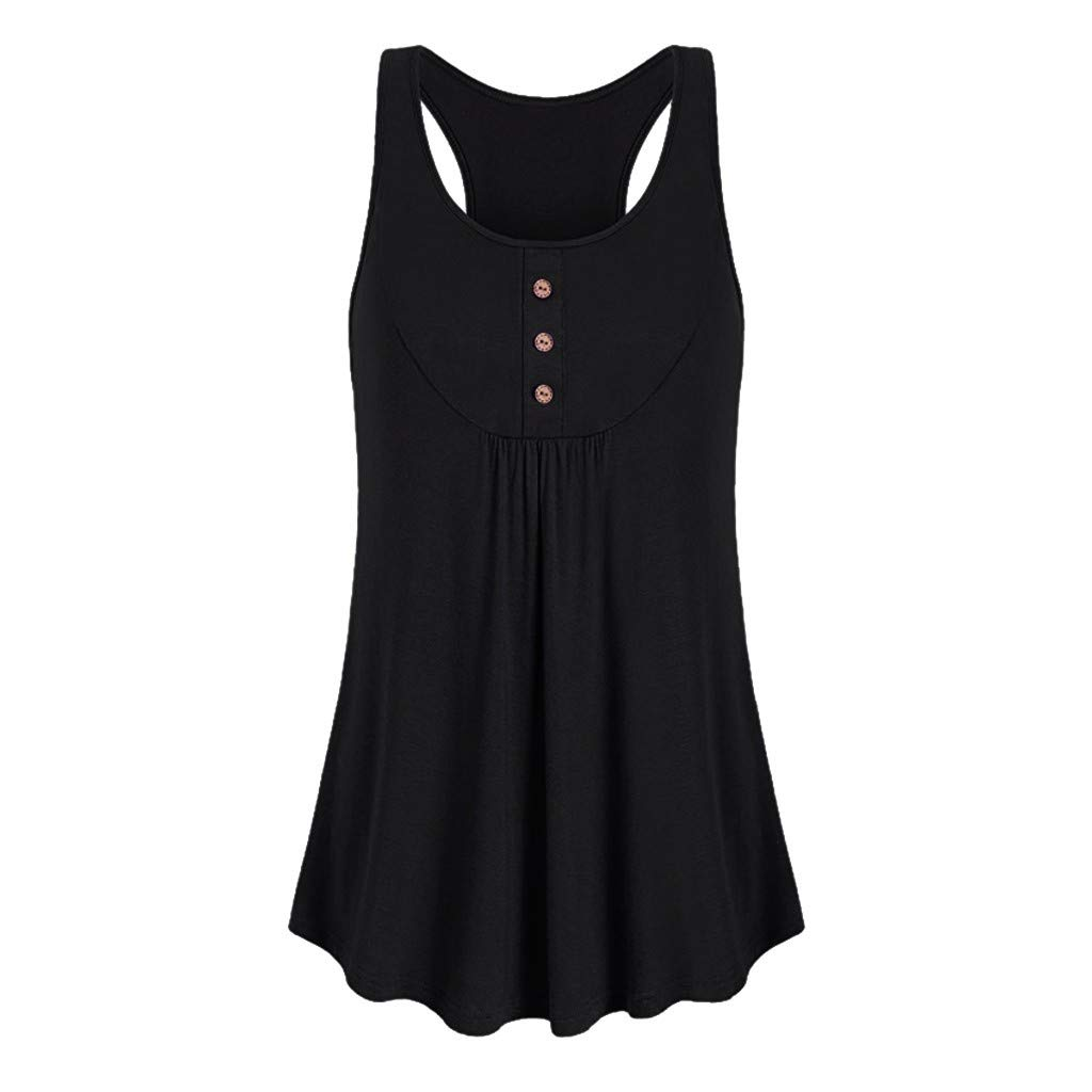 Hotkey Womens Short Sleeve Blouses Womens Sleeveless Round Neck Loose Fit Workout Tank Top Button Sport Vest Black