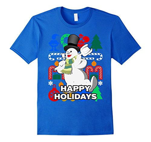 Mens Snowman Pipe Scarf and Hat Holiday T-shirt - Merry Christmas 2XL Royal Blue
