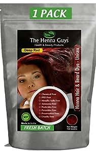 The Henna Guys Hair and Beard Dye, Deep Red, 1 Pack
