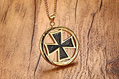 YLINGER Mens Stainless Steel The Knights Templar Malta Maltese Cross Round Pendant Necklace Silver,Free Chain