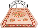 Rugby-Tan Stonewashed Single-Bed Bedspread from Jaipur with Applique Flowers and Mirrors - Pure Cott
