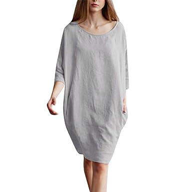 ff12994f31eb Women's Casual Summer Tank Long Sleeve/Sleeveless Knee Length Pleated Sun  Dresses (Gray,