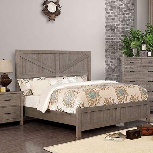 Esofastore California King Size Bed Tall Panel Headboard Furniture Gray Color Transitional ()