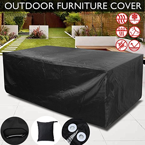 Retractable Awnings Home Depot (PESTORY 210D Heavy Anti Dust UV Rain Cover Outdoor Furniture Cover Waterproof Dustproof Cube Table Chair Cover (27018089cm))