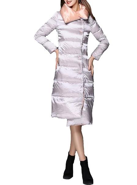 Queenshiny 2015 mujeres del nuevo Ladies Down-Chaqueta de largo abrigo de la chaqueta por debajo de la moda de la rodilla plata 34: Amazon.es: Ropa y ...