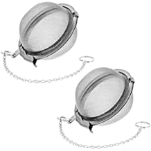 """U.S. Kitchen Supply - 2 - Pack Premium Tea, & Spice Balls - 2.1"""" Diameter Fine Mesh Stainless Steel - Perfect Strainers for Loose Leaf Tea and Seasoning Spices"""