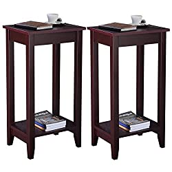 MasterPanel - Set of 2 Tall End Table Coffee Stand Night Side Accent Furniture Brown #TP3240