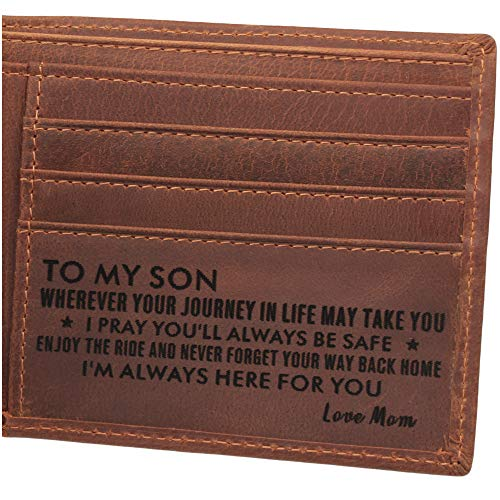Leather Wallet for Son, Engraved Wallet for Son, Personalized Gifts for Son from Mom, Son Graduation Gifts, Deployment Gifts, Birthday Gifts for Son, Gifts to Son from Mom