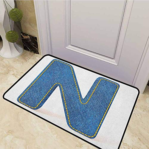 DESPKON Pet Mat N Uppercase Letter with Denim Alphabet Font Design Blue Jean Writing System Retro Front Back Door Mat for Entry, Garage, Patio, High Traffic Areas Blue Yellow 20 x 31 Inch