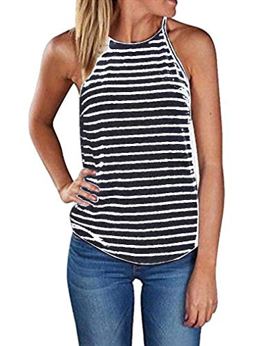 Sherosa Women's Casual Spaghetti Strap Floral Print Tank Tops Camis Shirt (M, Striped) Cotton Striped Halter Top