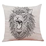 Modern Throw Pillow Covers 18x18 inch Square Pillow Case Minimalism Lion Sketch Pattern Cushion Cover for Home Sofa Office Car Decor (A)
