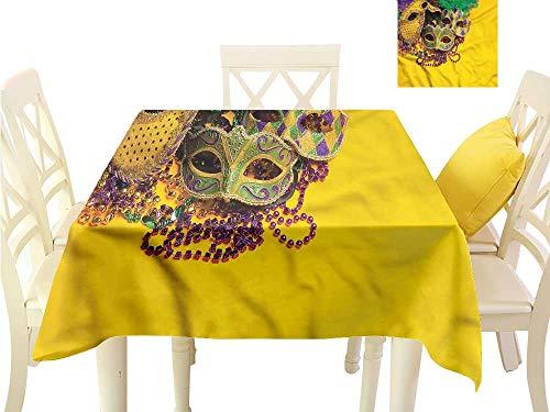 WilliamsDecor Table Cloths Spill Proof Mardi Gras,Venetian Mask Design Christmas Tablecloth W 60