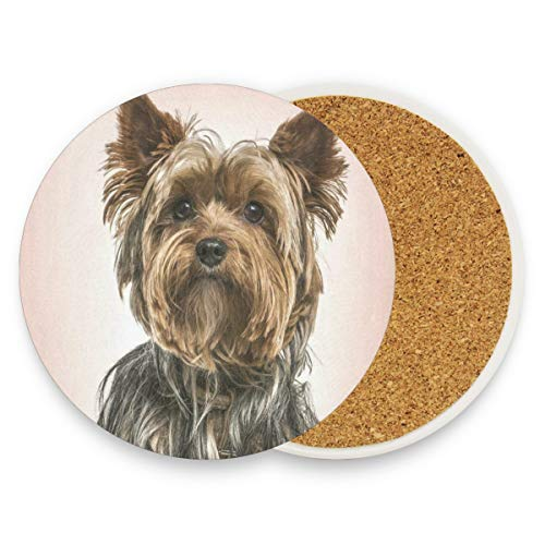 Yorkshire Terrie Dog Coasters, Protection For Granite, Glass, Soapstone, Sandstone, Marble, Stone Table - Perfect Wood Coasters,Round Cup Mat Pad For Home, Kitchen Or Bar Set Of 2