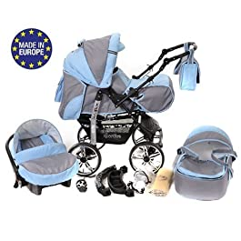 silla de paseo para bebés 3 en 1 gris y azul