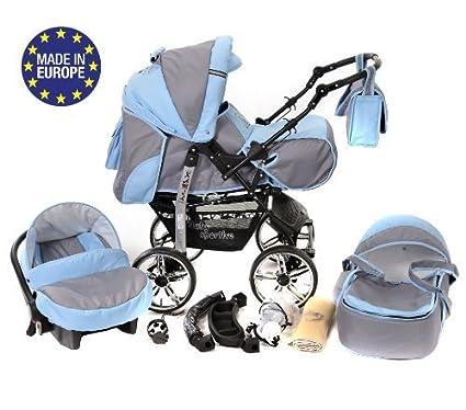 Kamil - Sistema de viaje 3 en 1, silla de paseo, carrito con capazo y silla de coche, RUEDAS ESTÁTICAS y accesorios (Sistema de viaje 3 en 1, gris, ...