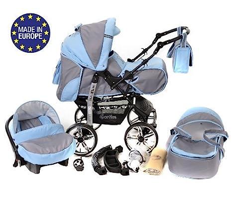 RUEDAS EST/ÁTICAS y accesorios silla de paseo Sistema de viaje 3 en 1 Kamil carrito con capazo y silla de coche Sistema de viaje 3 en 1, negro, negro lunares