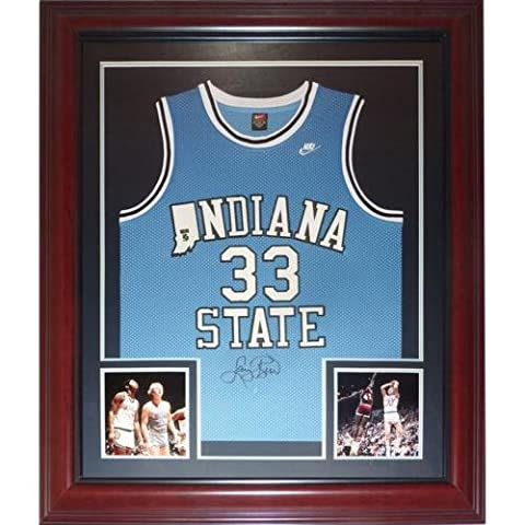 Larry Bird Autographed Indiana State Sycamores (Blue #33) Deluxe Framed Jersey - Bird Holo - Deluxe Framed Jersey