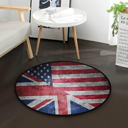 - ALAZA American Flag British UK Flag Round Area Rug for Living Room Bedroom 3' Diameter(92 cm)