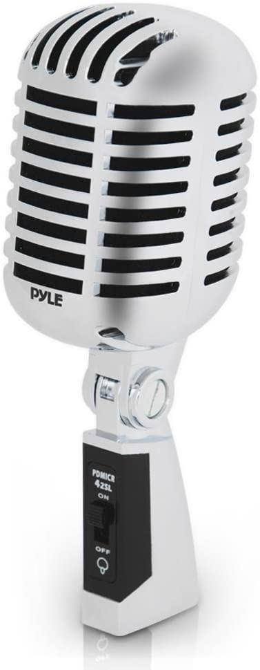 Classic Retro Dynamic Vocal Microphone - Old Vintage Style Unidirectional Cardioid Mic with XLR Cable - Universal Stand Compatible - Live Performance In Studio Recording - Pyle PDMICR42SL (Silver): Musical Instruments