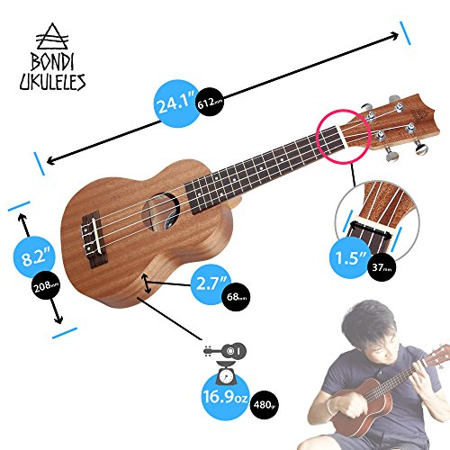 Ukulele Starter Kit (15-FREE-Bonuses) Mahogany Uke, Compression Sponge Case, Aquila Strings, Felt Picks, Tuner, Chord Stamp, Chord Chart, Leather Strap, Live Lesson & More (Limited Time) by Bondi Ukuleles (Image #8)