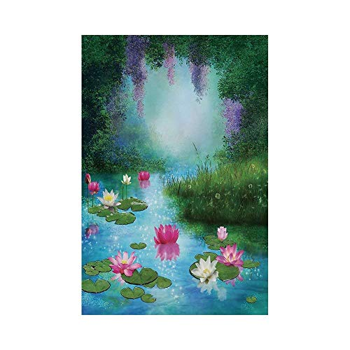 Polyester Garden Flag Outdoor Flag House Flag Banner,Nature,Fantasy Pond with Water Lilies Floating Romantic Lotus Fairy Tale Digital Art,Aqua Pink Green,for Wedding Anniversary Home Outdoor Garden ()