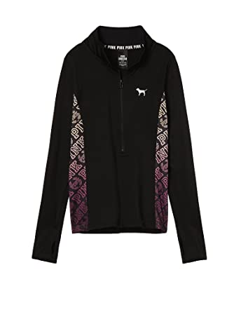 d643a5dc5ba3 Victoria's Secret PINK Ultimate Sweaters Half Zip, Black, XSmall at Amazon Women's  Clothing store: