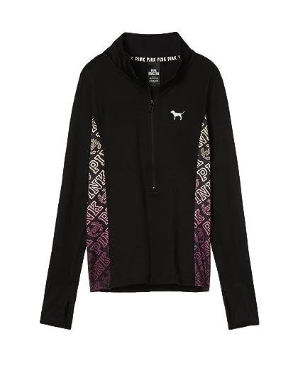 Victorias Secret Pink Ultimate Sweaters Half Zip Black Xsmall At