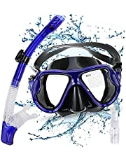 Gifort Snorkel Set, Snorkel Mask, Snorkeling Mask with Tempered Glass, Anti-fog Diving Mask for Men and Women, Crystal Clear View & Easy Adjustable Strap for Snorkeling, Diving, Swimming (Blue)