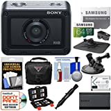Sony DSC-RX0 Ultra-Compact Shock & Waterproof Video Camera with 64GB Card + Battery & Charger + Case + Suction Cup & Dashboard Mounts Kit