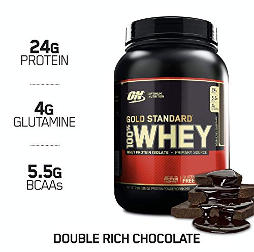 OPTIMUM NUTRITION GOLD STANDARD 100% Whey Protein Powder, Double Rich Chocolate 2 Pound