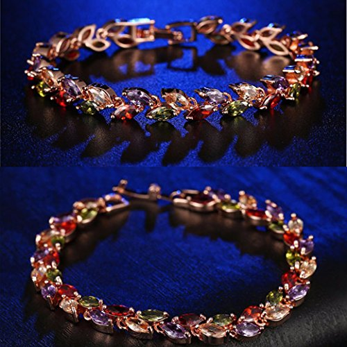 Lujuny Cubic Zircon Leaf Tennis Bracelet - Rose Gold Plated Classic Bangle (Rainbow Bracelet 7.5) by Lujuny (Image #1)