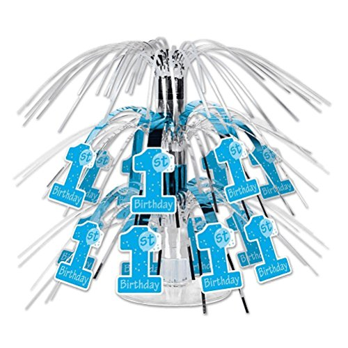 Beistle 1st Birthday Mini Cascade Centerpiece, 7 1/2-Inch, Blue/White/Silver
