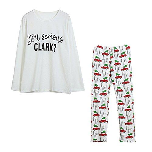 Kehen Parent-Child Clothing Set,Letter Car Family Xmas Clothes Outfits Pajamas (L, #1 Adult)