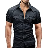 Men's Casual Slim Fit Button Shirt with Pocket Short Sleeve Denim Tops