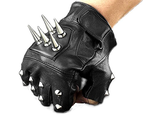Mens Leather Spike stud Punk Rocker Driving Motorcycle Biker Fingerless Gloves