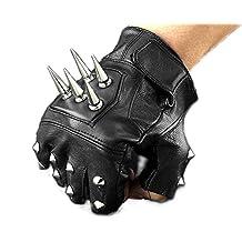 Mens Leather Spike stud Punk Rocker Driving Motorcycle Biker Fingerless Gloves