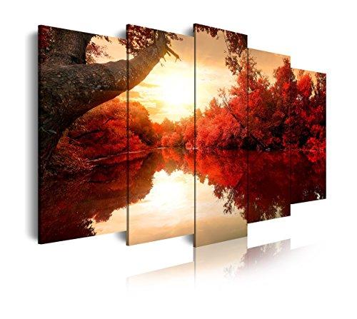 DekoArte 192 - Cuadros Modernos Impresion de Imagen Artistica Digitalizada | Lienzo Decorativo para Tu Salon o Dormitorio | Estilo Naturaleza Paisaje con Agua Arboles Rojos | 5 Piezas 150 x 80 cm