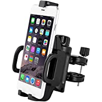 Adjustable One-Button Release Bike & Motorcycle Phone Mount, 4 Sturdy Clamps Provide Full Protection, Universal Holder for Motorbike/Bicycle Handlebars,Fit any Smartphone – iPhone Samsung Nexus LG,GPS