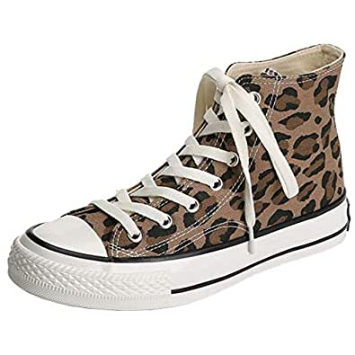 RAZAMAZA Women Casual Canvas Shoes Lace Up Lepord-Print School Shoes High-Top Plimsolls Walking Shoes Comfortable Brown-Leopard Size 35 Asian