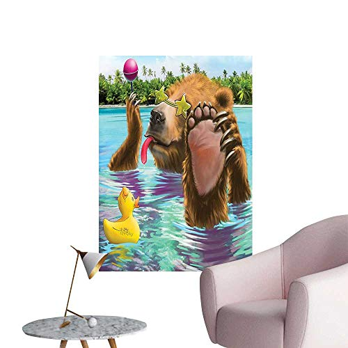 Wall Stickers for Living Room Fancy Wild Bear in The by The Beach its Sunglass Candi Print Vinyl Wall Stickers Print,24