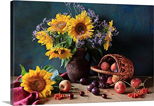 Canvas on Demand Premium Thick-Wrap Canvas Wall Art Print entitled Summer still life with sunflowers, apples, peaches, plums, rowan berries and cherries 48