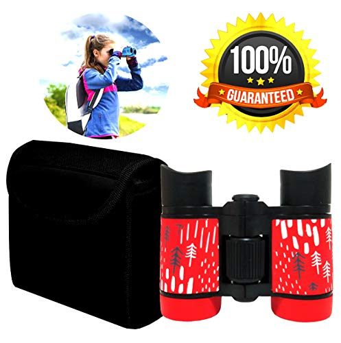 Kid Binoculars Shock Proof Toy Binoculars Set - Bird Watching - Educational Learning - Presents for Kids - Children Gifts - Boys and Girls - Outdoor Play - Hunting - Hiking - Camping Gear (Red) ()