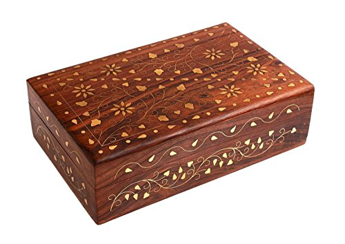 The Great Indian Bazaar Handmade Floral Brass Inlay 8-Inch-by-5-Inch Wooden Jewelry Storage Box for Women