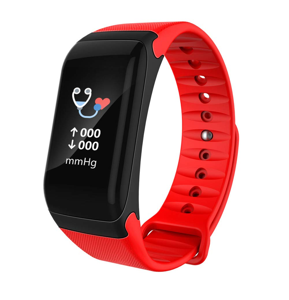HHRONG Bluetooth Smart Bracelet, Ip67 Waterproof Pedometer Sleep Monitor Color Screen Active Wristband, Men's and Women's Compatible Android iOS-red by HHRONG