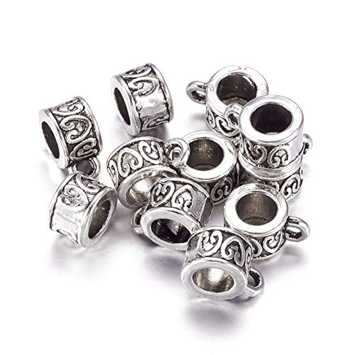 (Craftdady 20Pcs Tibetan Antique Silver Column Hanger Bail Beads Lead Free & Cadmium Free for Charm Pendant Making 8.5x6mm)