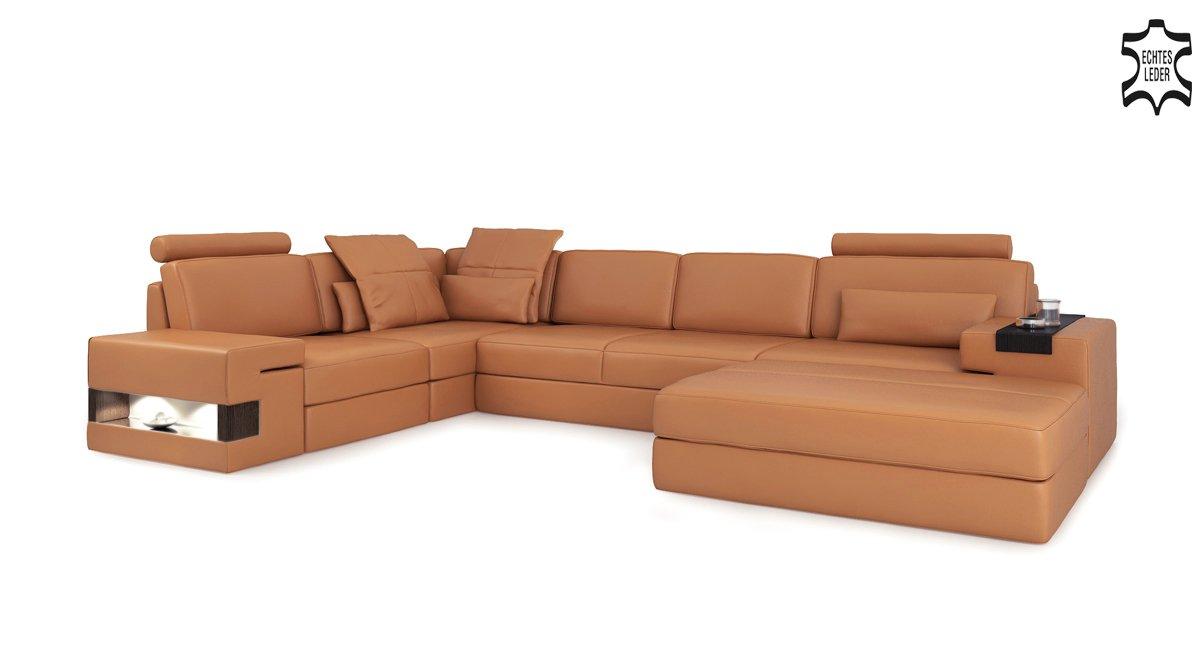 Ledersofa Orange Cognac Wohnlandschaft Leder Sofa L Form Eck Couch