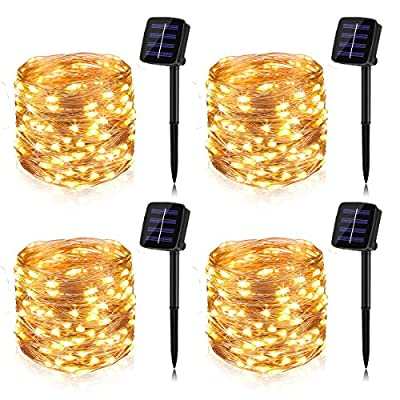 BINZET Solar String Lights, 33Ft 100LEDs Waterproof Decorative Copper Wire String Lights for Party, Patio, Garden, Gate, Yard, Wedding, Christmas (Warm White,2 Pack)